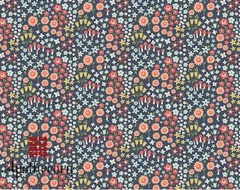 Riley Blake Woodland Spring Wild Flowers Navy - DESIGNER FABRIC - Sold by the 1/2 Yard