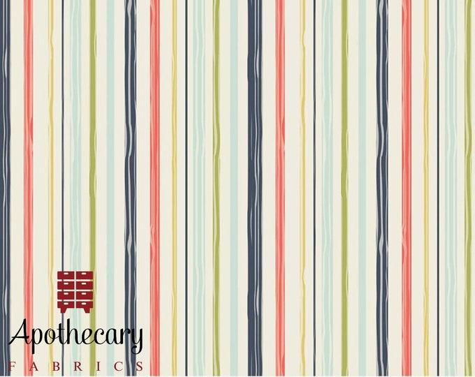 Riley Blake Woodland Springs Stripe Cream - DESIGNER FABRIC - Sold by the 1/2 Yard