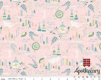 Riley Blake Neverland Lantern Pink - COTTON WOVEN - Sold by the 1/2 Yard