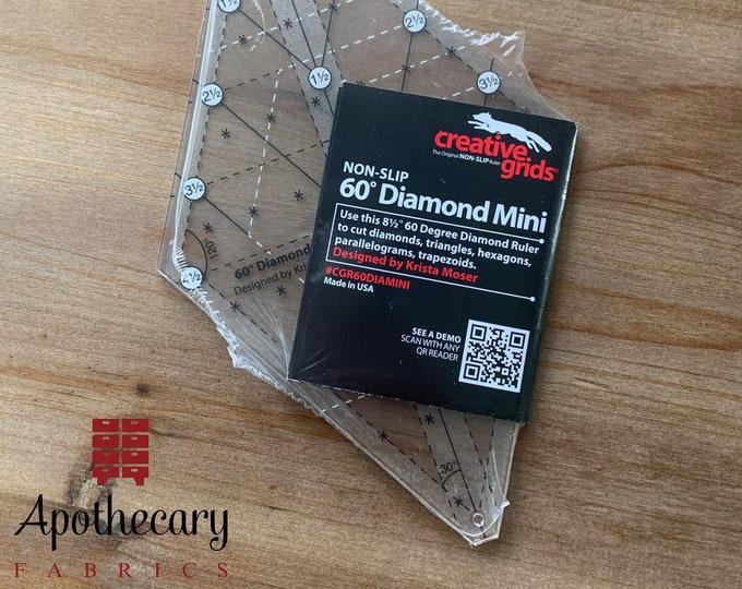 Creative Grids 60 Degree Diamond Mini Ruler - Cut Diamonds, Triangles, Hexagons, and More - Quilt Ruler