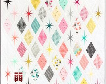 Atomic Starburst Quilt Pattern - PAPER PATTERN - Designed by Violet Craft