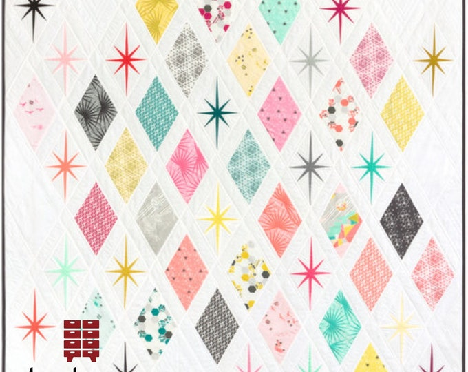 Atomic Starburst Quilt Pattern - PAPER PATTERN - Designed by Violet Craft