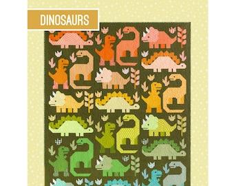 Dinosaur Sampler Quilt Sewing Pattern - PAPER PATTERN - Designed by Elizabeth Hartman