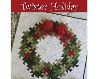 Twister Holiday Mini Quilt Quilt Sewing Pattern - PAPER PATTERN - Designed by Becky Cogan