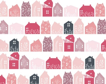 Gingham Farmhouse by Poppie Cottons GF19103 Farmhouse Row Pink - WOVEN FABRIC - Sold by the 1/2 Yard