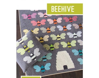 Beehive Quilt and Pillow Sewing Pattern - PAPER PATTERN - Designed by Elizabeth Hartman