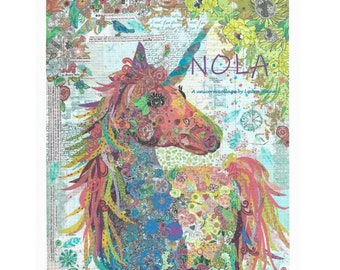 NOLA the Unicorn Collage Quilt Pattern by Laura Heine - PAPER PATTERN