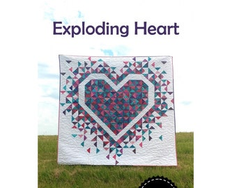 Exploding Heart Quilt Sewing Pattern - PAPER PATTERN - Designed by Slice of Pi Quilts