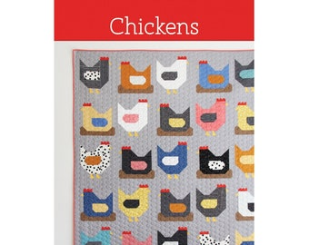 Chickens Quilt Sewing Pattern - PAPER PATTERN - Designed by Cluck Cluck Sew