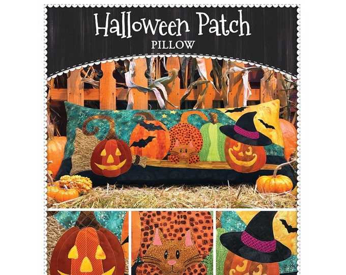 Halloween Patch Pillow by Shabby Fabrics - PAPER PATTERN - Create your own Halloween decor!