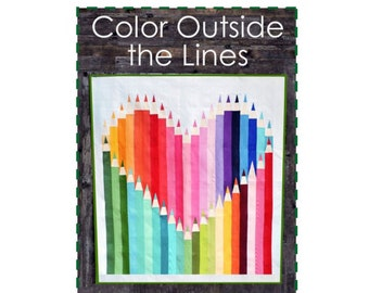 Color Outside the Lines Quilt Sewing Pattern - PAPER PATTERN - Designed by Kelli Fannin Quilts