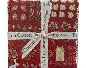 """Kaisley Rose 5"""" Charm Pack - PRE-CUT FABRIC - Poppie Cotton"""