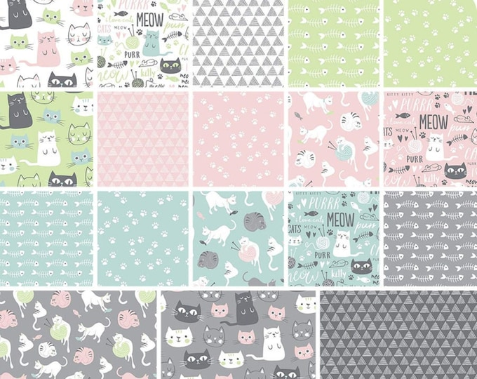 Purrfect Day Fabric Collection by Riley Blake Designs - COTTON WOVEN - Sold by the 1/2 Yard