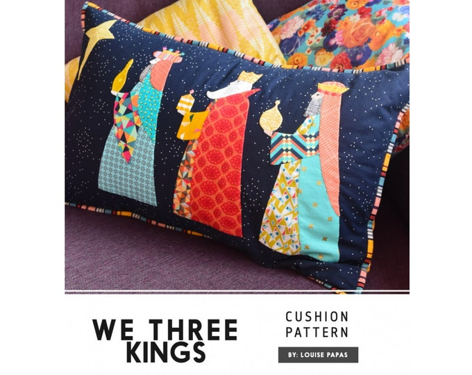 We Three Kings Pillow Cushion Sewing Pattern - PAPER PATTERN - Designed by Louise Papas