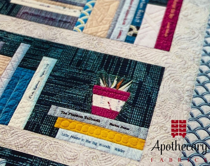 Personal Library Quilt Pattern - PAPER PATTERN - Perfect for book lovers - Crimson Tate