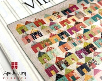 Village Quilt by Miss Rosie's Quilt Co - PAPER PATTERN - Little Row Houses Quilting Tutorial by Carrie Nelson