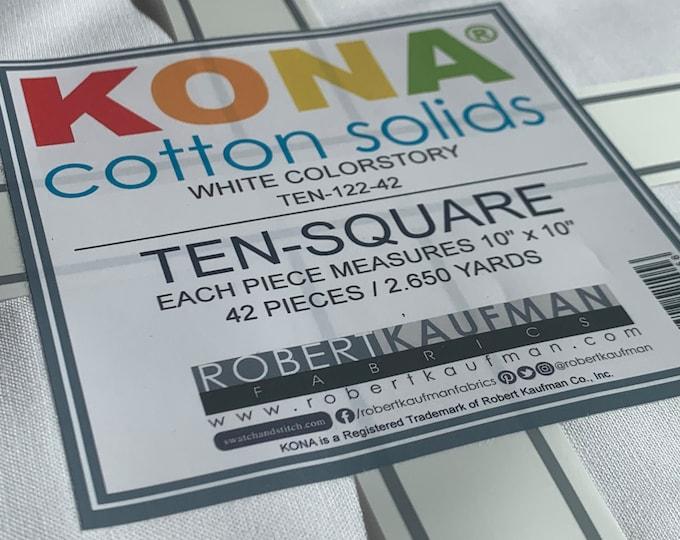 "KONA Cotton Solids Ten Square Pre Cut Fabric Layer Cake Stacker by Robert Kaufman 10""x10"" 42 Pieces"