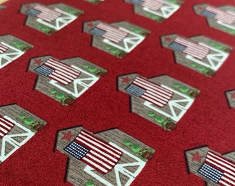 Riley Blake Celebrate America Barns Red - DESIGNER FABRIC - Patriotic Cotton Woven - Sold by the 1/2 Yard