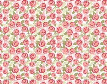 Kaisley Rose White Rosalie Rose Fabric - POPPIE COTTON- Sold by the 1/2 Yard