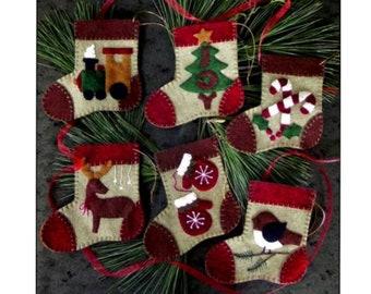 Warm Feet Mini Ornament Kit - PAPER PATTERN - Felt, floss, and string included