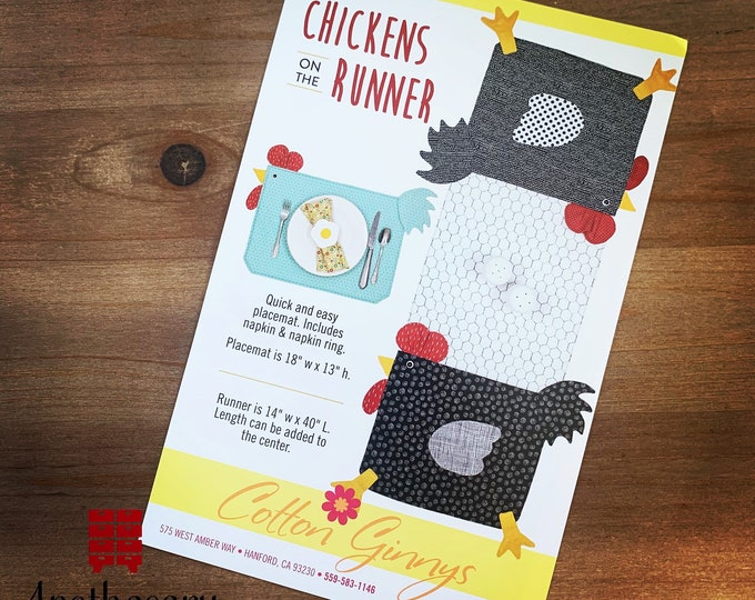 Chickens on the Runner Sewing Pattern - PAPER PATTERN - Quick and Easy Chicken Placemat, Table Runner, Napkin and Napkin Ring Pattern