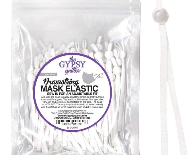 Drawstring Mask Elastic - 60 Count (Makes 30 masks) - Choose Black or White