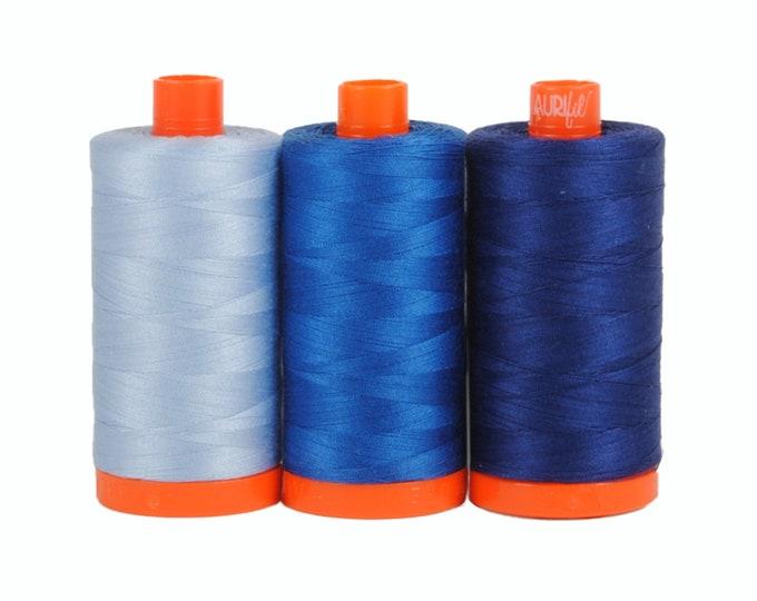Como Blue - Color Builder 3pc Thread Set - Aurifil USA