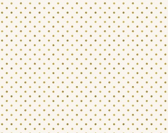 Kringles Sweet Shop Dew Drops Gold Ivory - DESIGNER FABRIC - Sold by the 1/2 Yard