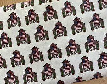 Riley Blake Celebrate America Barns Cream - DESIGNER FABRIC - Patriotic Cotton Woven - Sold by the 1/2 Yard