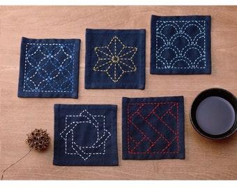 Sashiko Tsumugi Sampler Coaster Pattern - CHOOSE COLOR - Japanese Embroidery Water Soluble Art Pattern on Fabric