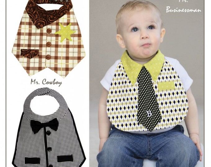 Dude Babies! Bib Patterns - PAPER PATTERNS - Designed by Vanilla House Designs
