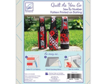 Quilt As You Go Wine Tote Pattern - Printed on Batting - June Tailor Inc