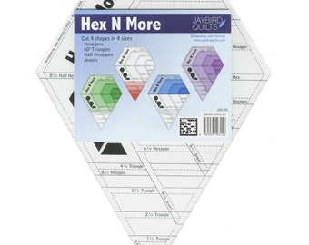Hex N More Ruler by Jaybird Quilts - Make Hexagons, Triangles, Half Hexies, and Jewels