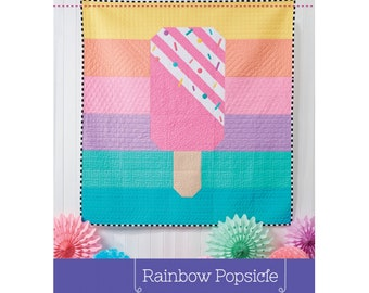 Rainbow Popsicle Quilt Sewing Pattern - PAPER PATTERN - Designed by Tied With a Ribbon