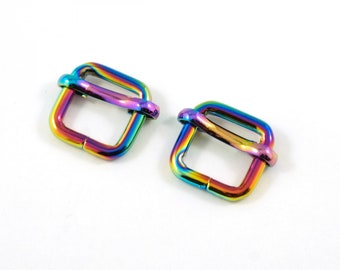 Set of 2 Strap Sliders for 1/2 inch Straps - CHOOSE from Rainbow or Nickel - Metal Bag Purse Wristlet Hardware