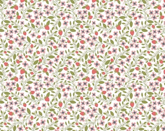 Daisy Mae by Poppie Cottons DM20118 Berry Blossoms White - WOVEN FABRIC - Sold by the 1/2 Yard