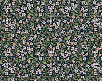 Daisy Mae by Poppie Cottons DM20120 Berry Blossoms Navy - WOVEN FABRIC - Sold by the 1/2 Yard