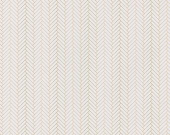 Emma & Mila Nightfall Herringbone White Camelot Fabrics Metallic Fabric Cotton Woven - DESIGNER FABRIC - Sold by the 1/2 Yard