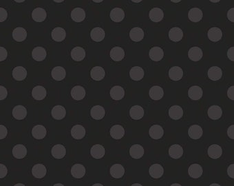 Riley Blake Cotton Woven Quilting and Apparel Fabric - Medium Dot Tone on Tone Black - Sold by the 1/2 Yard