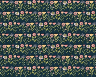 Daisy Mae by Poppie Cottons DM20108 Fresh Cuts Navy - WOVEN FABRIC - Sold by the 1/2 Yard