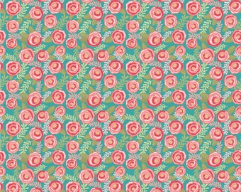 Kaisley Rose Blue Rosalie Rose Fabric - POPPIE COTTON- Sold by the 1/2 Yard