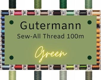Gutermann Sew-All Thread 100m - Green Thread - Choose Your Own Color