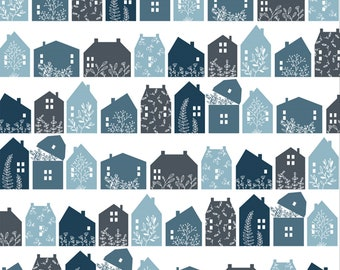 Gingham Farmhouse by Poppie Cottons GF19105 Farmhouse Row Navy - WOVEN FABRIC - Sold by the 1/2 Yard