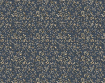 Daisy Mae by Poppie Cottons DM20105 Sweet Blooms Navy - WOVEN FABRIC - Sold by the 1/2 Yard
