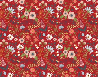 Farm Girls Unite Red Main Floral FG20714 - POPPIE COTTON- Sold by the 1/2 Yard