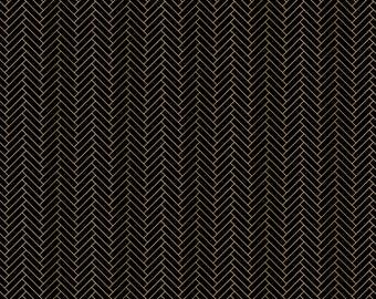 Emma & Mila Nightfall Herringbone Black Camelot Fabrics Metallic Fabric Cotton Woven - DESIGNER FABRIC - Sold by the 1/2 Yard