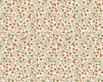 Daisy Mae by Poppie Cottons DM20119 Berry Blossoms Pink - WOVEN FABRIC - Sold by the 1/2 Yard