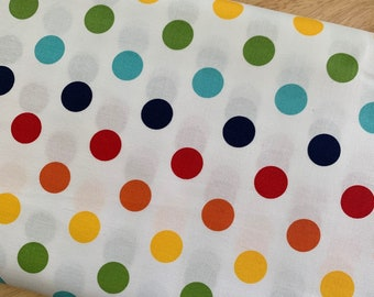 Riley Blake Cotton Woven Quilting and Apparel Fabric - Medium Dot Rainbow - Sold by the 1/2 Yard