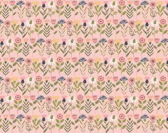 Daisy Mae by Poppie Cottons DM20107 Fresh Cuts Pink - WOVEN FABRIC - Sold by the 1/2 Yard