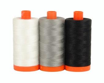 Carrara Black / White - Color Builder 3pc Thread Set - Aurifil USA